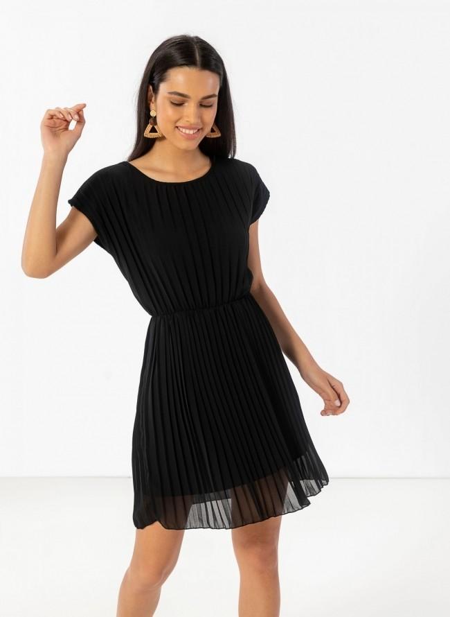 3c11b765970 Πλισέ φόρεμα με διπλό ύφασμα - Μαύρο