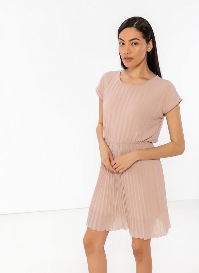 1e5a3953e47 Πλισέ φόρεμα με διπλό ύφασμα - Nude