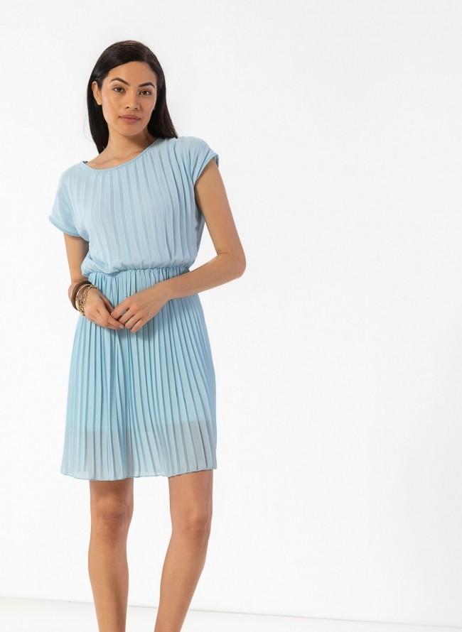 d701ba161e5 Πλισέ φόρεμα με διπλό ύφασμα - Γαλάζιο