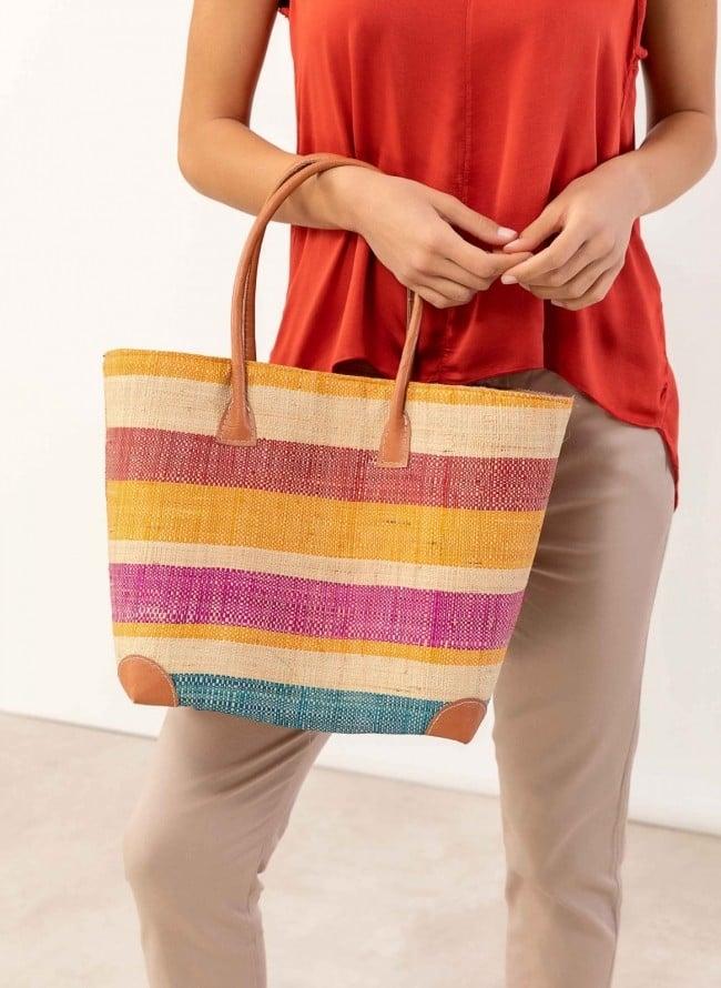 4d202de0db Πολύχρωμη ψάθινη τσάντα με λεπτομέρειες δερματίνη B-8147 - Multi