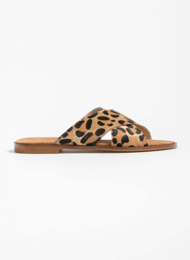 Ponyskin flats με χιαστί leopard φάσες - Leopard