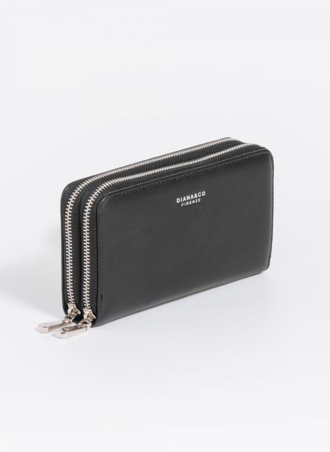 Πορτοφόλι δύο θέσεων με φερμουάρ - Μαύρο