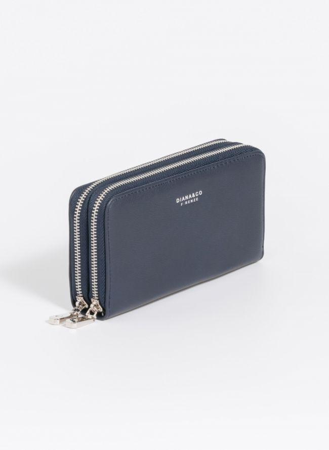 Πορτοφόλι δύο θέσεων με φερμουάρ - Μπλε σκούρο
