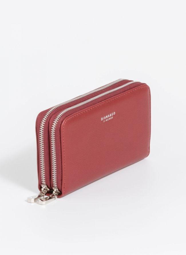 Πορτοφόλι δύο θέσεων με φερμουάρ - Μπορντό