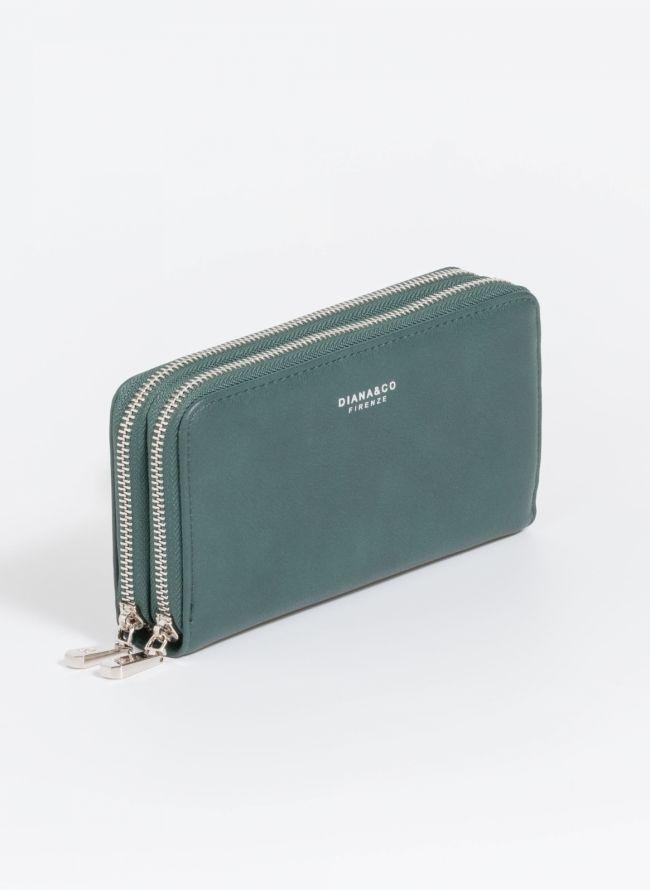 Πορτοφόλι δύο θέσεων με φερμουάρ - Κυπαρισσί