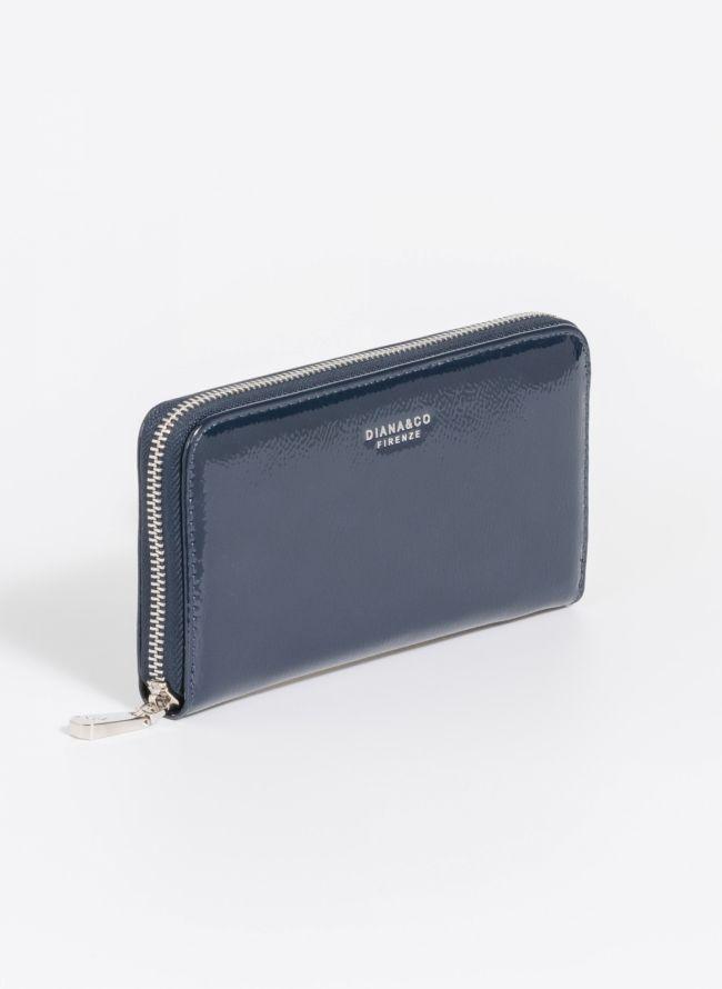 Πορτοφόλι λουστρίνι με φερμουάρ - Μπλε σκούρο