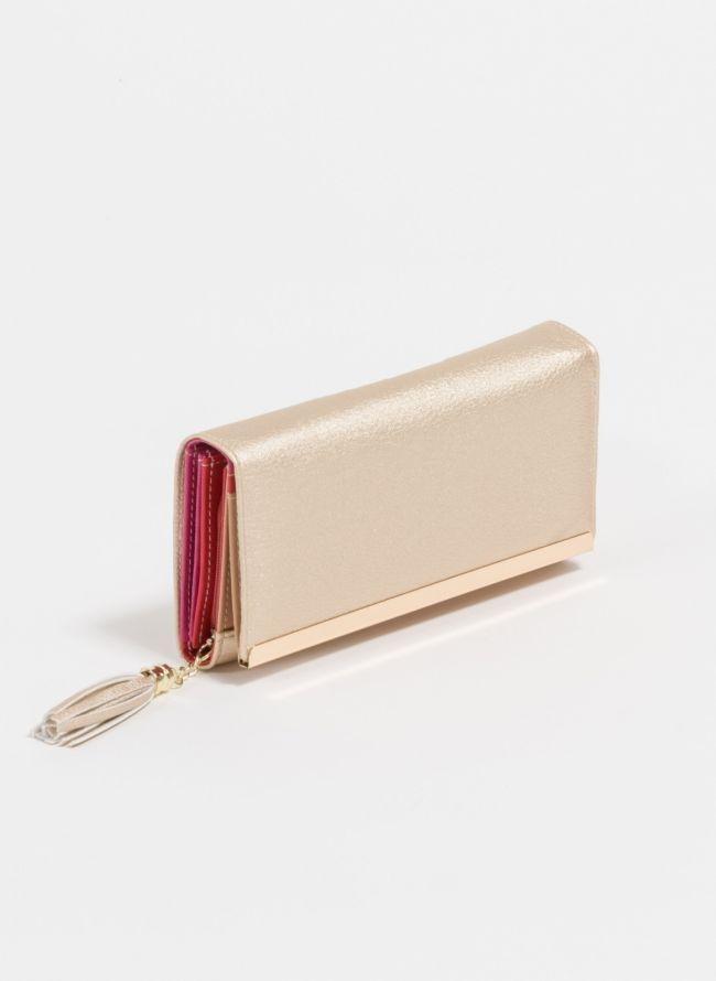 Πορτοφόλι με διακοσμητικά κρόσσια - Χρυσό