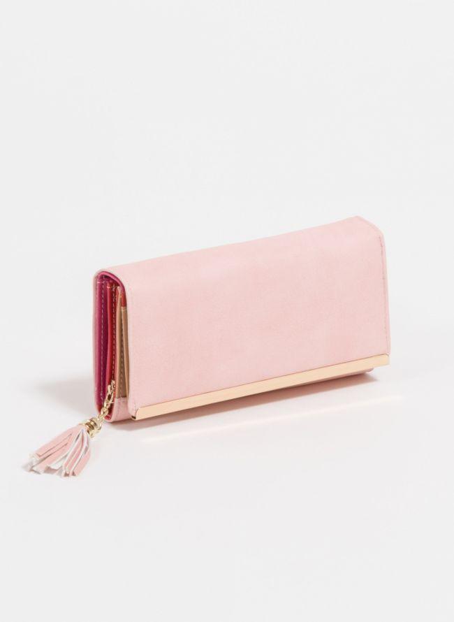 Πορτοφόλι με διακοσμητικά κρόσσια - Ροζ