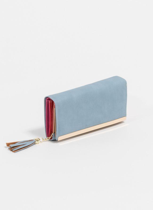 Πορτοφόλι με διακοσμητικά κρόσσια - Γαλάζιο