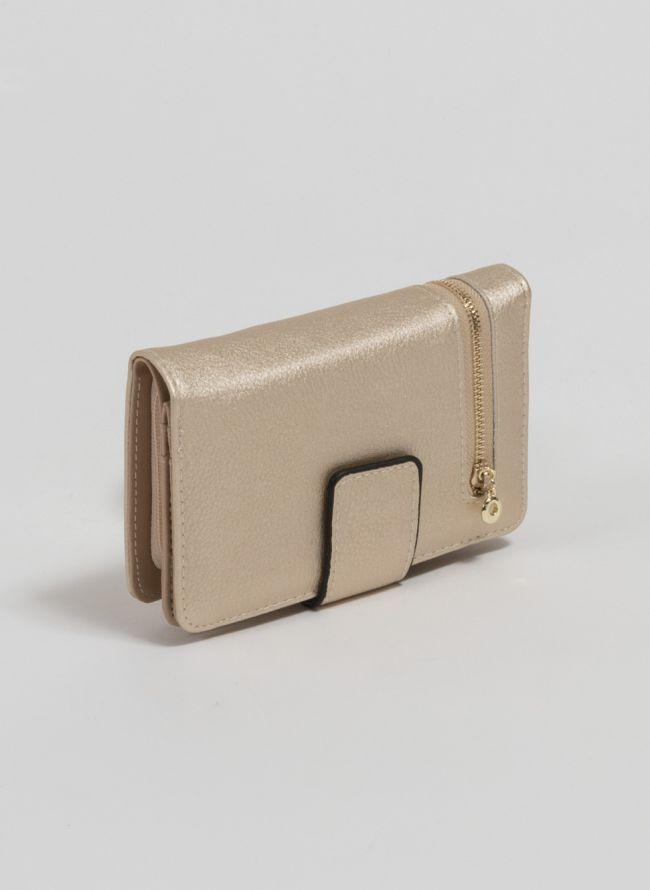 Πορτοφόλι με εξωτερικό φερμουάρ - Χρυσό