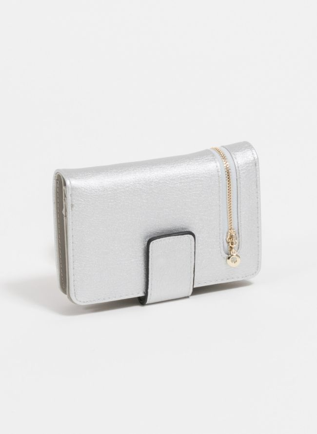 Πορτοφόλι με εξωτερικό φερμουάρ - Ασημί