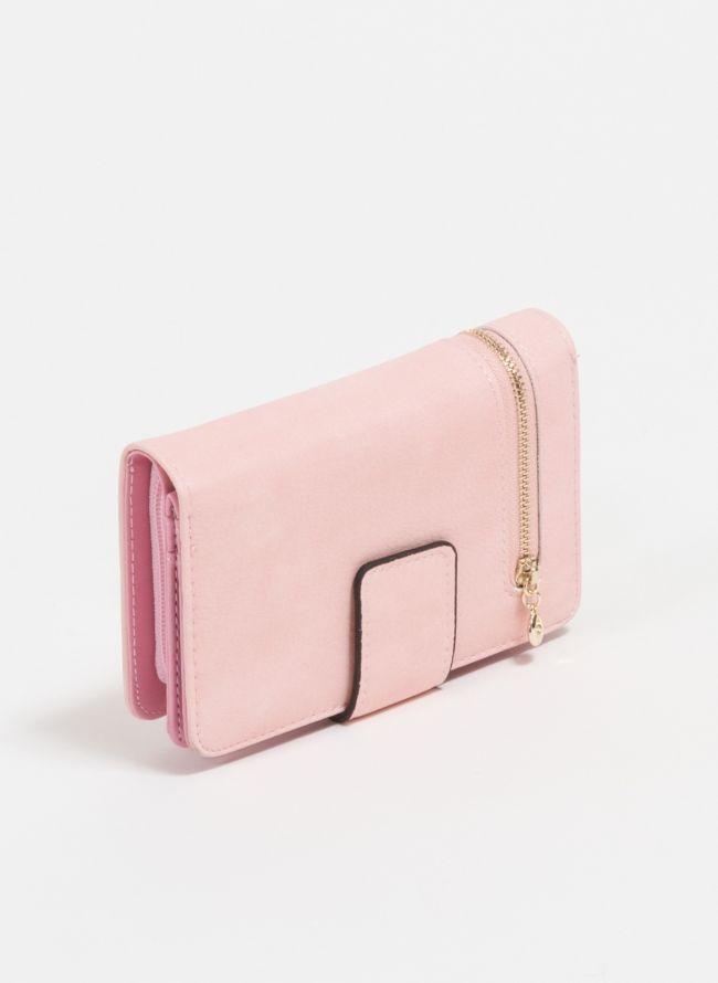 Πορτοφόλι με εξωτερικό φερμουάρ - Ροζ