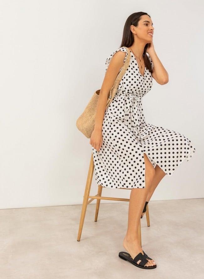645af5af223 Πουά φόρεμα με ανοίγματα - Λευκό