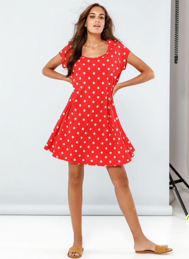 Πουά φόρεμα με μανικάκι - Κόκκινο