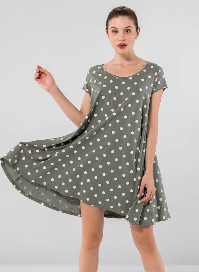 Πουά φόρεμα με μανικάκι - Χακί