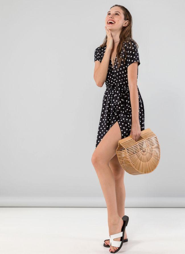 Πουά κρουαζέ φόρεμα με  μανικάκι - Μαύρο