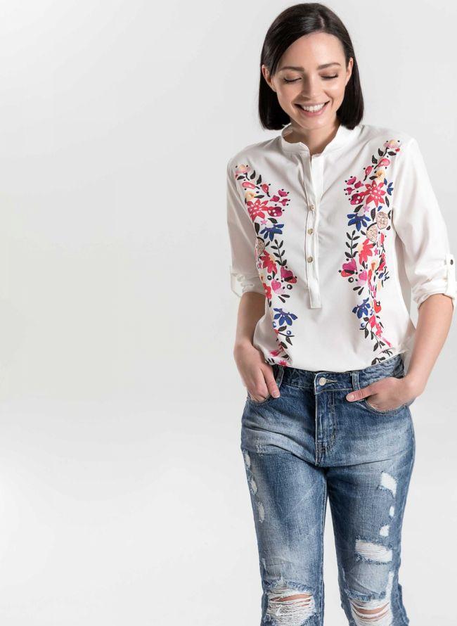 Πουκάμισο με γιακά Μάο και  λουλούδια - Λευκό