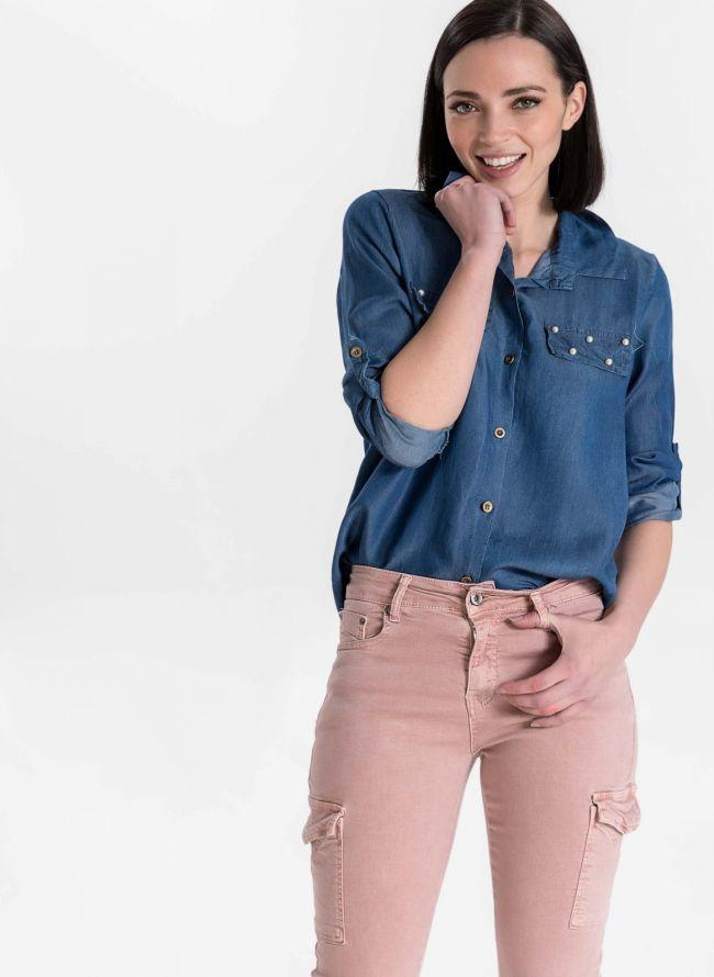 Πουκάμισο με πέρλες - Μπλε jean