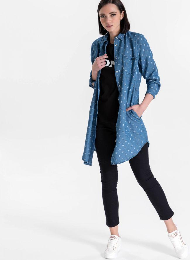 Πουκάμισο με σχέδιο άγκυρες - Μπλε jean