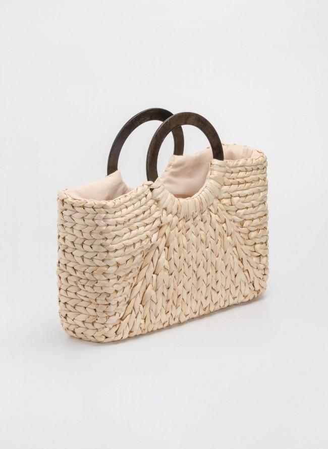 afc21b700c Ψάθινη τσάντα με ξύλινη στρογγυλή λαβή Β-7132 - Ζαχαρί
