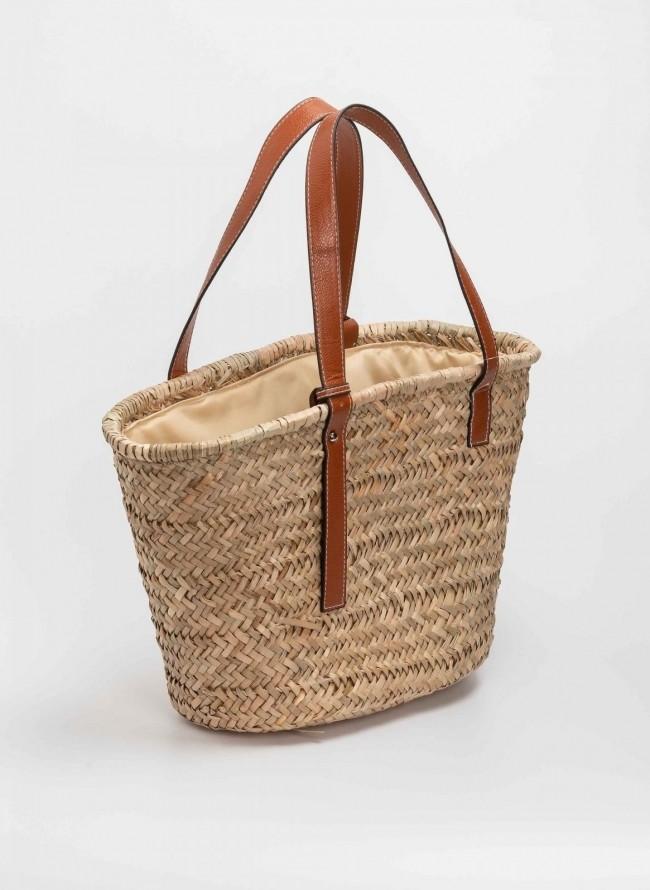 14924d949d Ψάθινη τσάντα ώμου με δερμάτινα λουράκια - Φυσικό