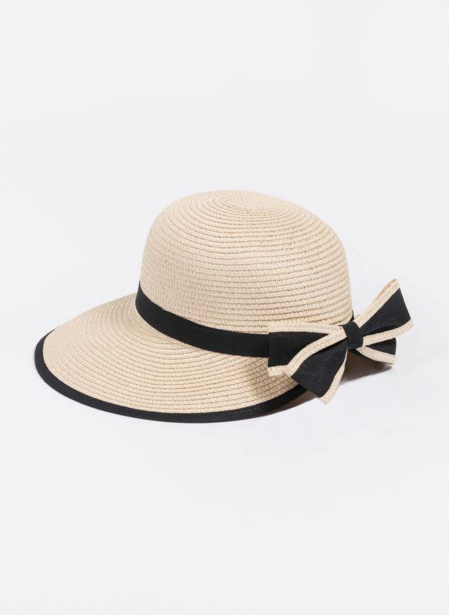 Ψάθινο καπέλο με φιόγκο - Μπεζ
