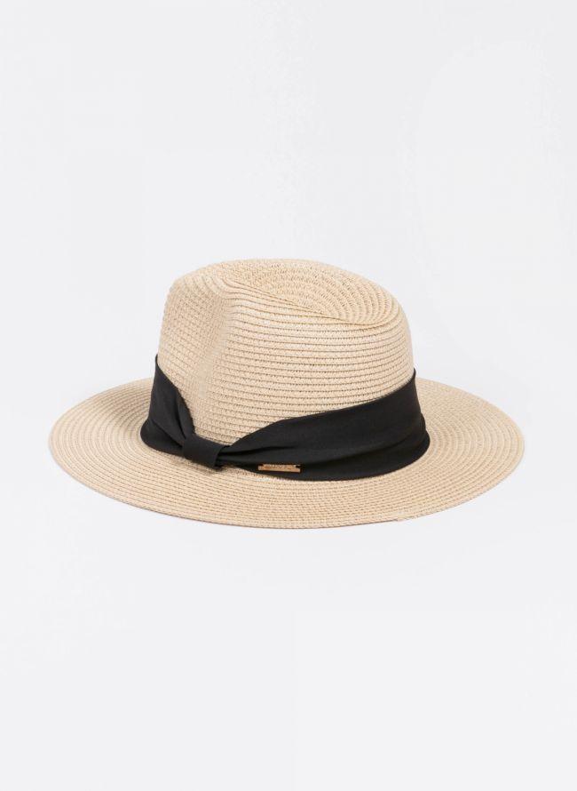 Ψάθινο καπέλο με κορδέλα - Μπεζ