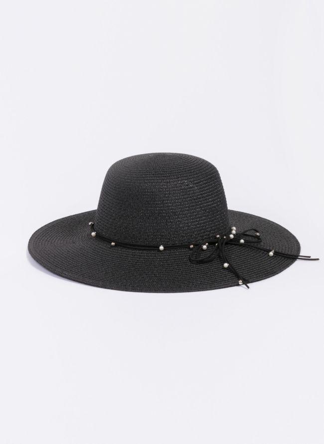 Ψάθινο καπέλο με πέρλες - Μαύρο