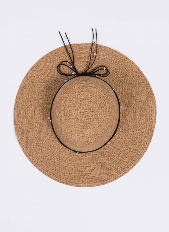 Ψάθινο καπέλο με πέρλες - Κάμελ