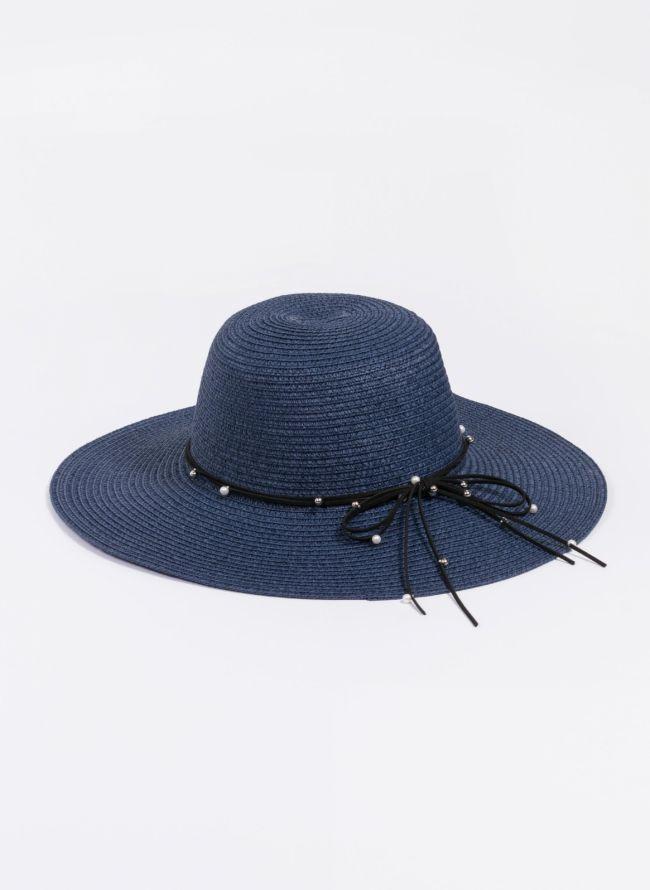 Ψάθινο καπέλο με πέρλες - Μπλε σκούρο