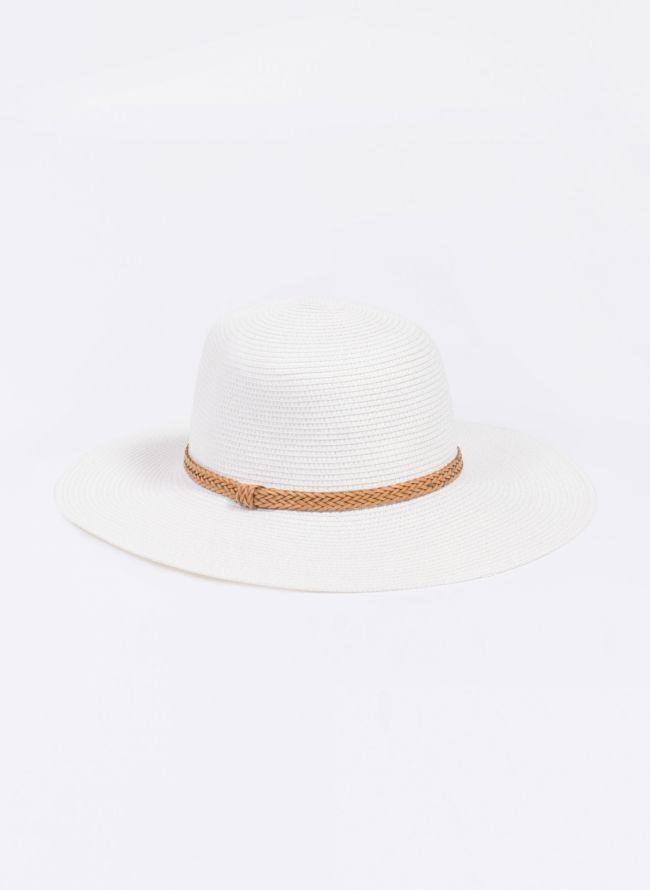 Ψάθινο καπέλο με πλεκτό ζωνάκι - Λευκό