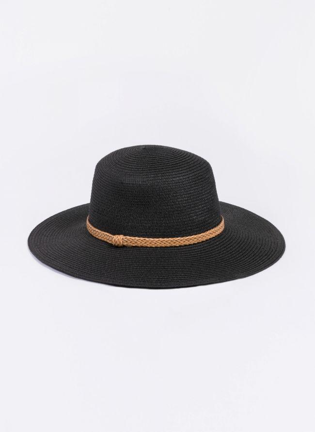 Ψάθινο καπέλο με πλεκτό ζωνάκι - Μαύρο