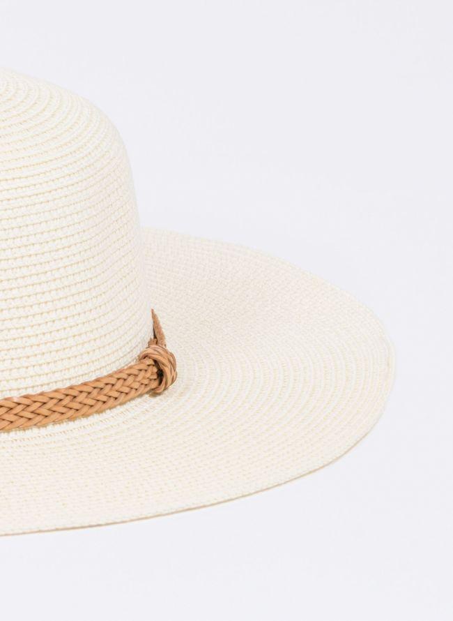 Ψάθινο καπέλο με πλεκτό ζωνάκι - Μπεζ