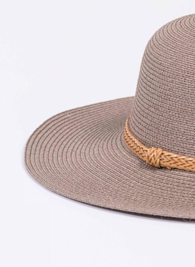 Ψάθινο καπέλο με πλεκτό ζωνάκι - Πούρο