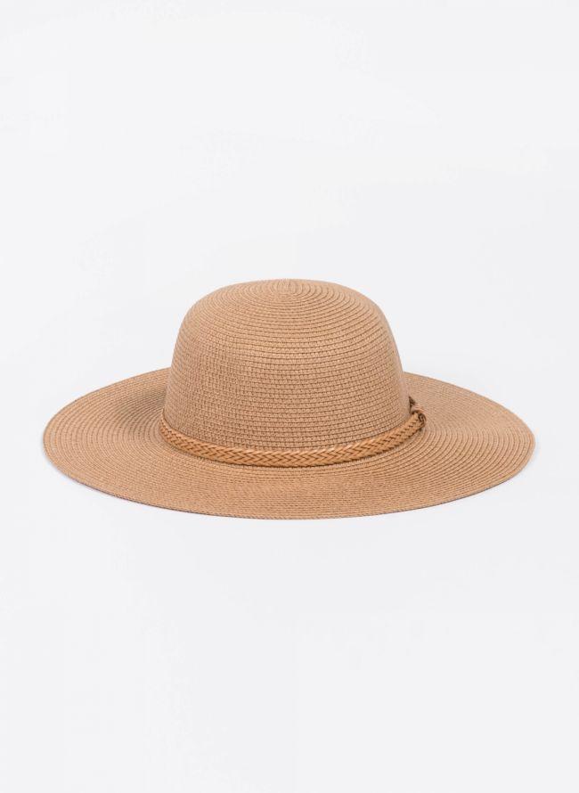 Ψάθινο καπέλο με πλεκτό ζωνάκι - Κάμελ