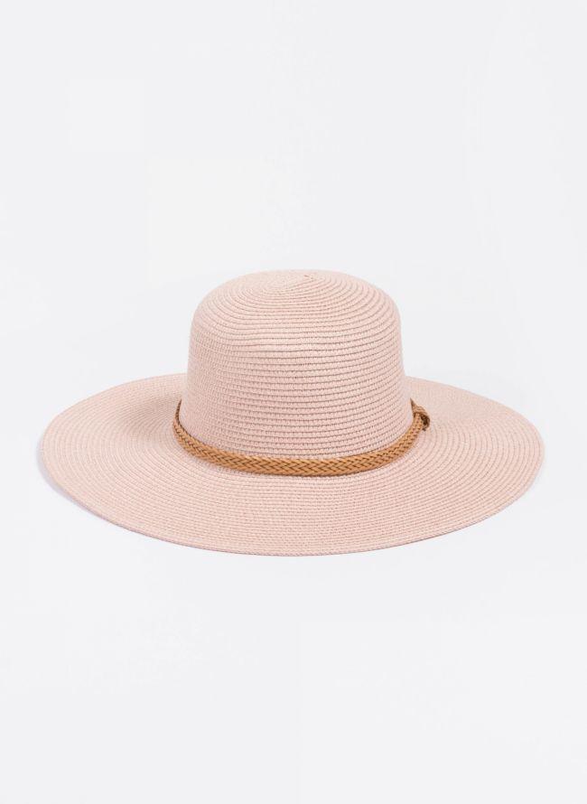 Ψάθινο καπέλο με πλεκτό ζωνάκι - Ροζ