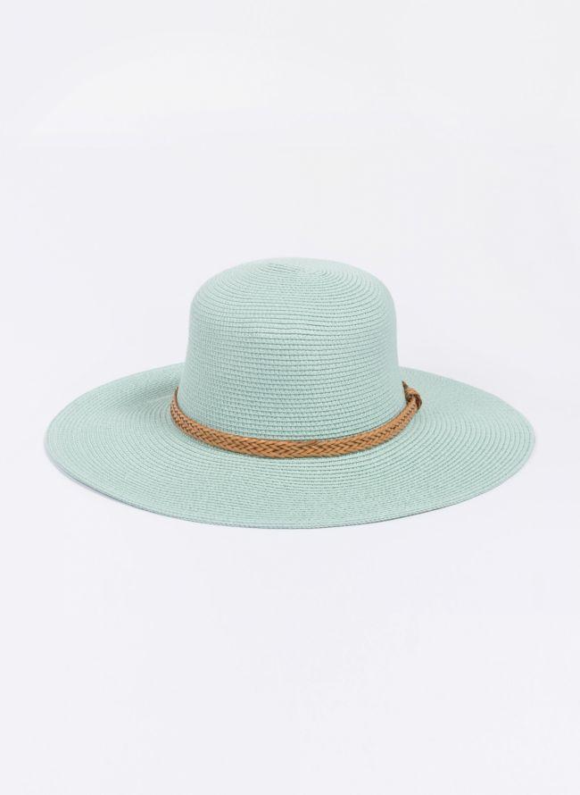 Ψάθινο καπέλο με πλεκτό ζωνάκι - Βεραμάν