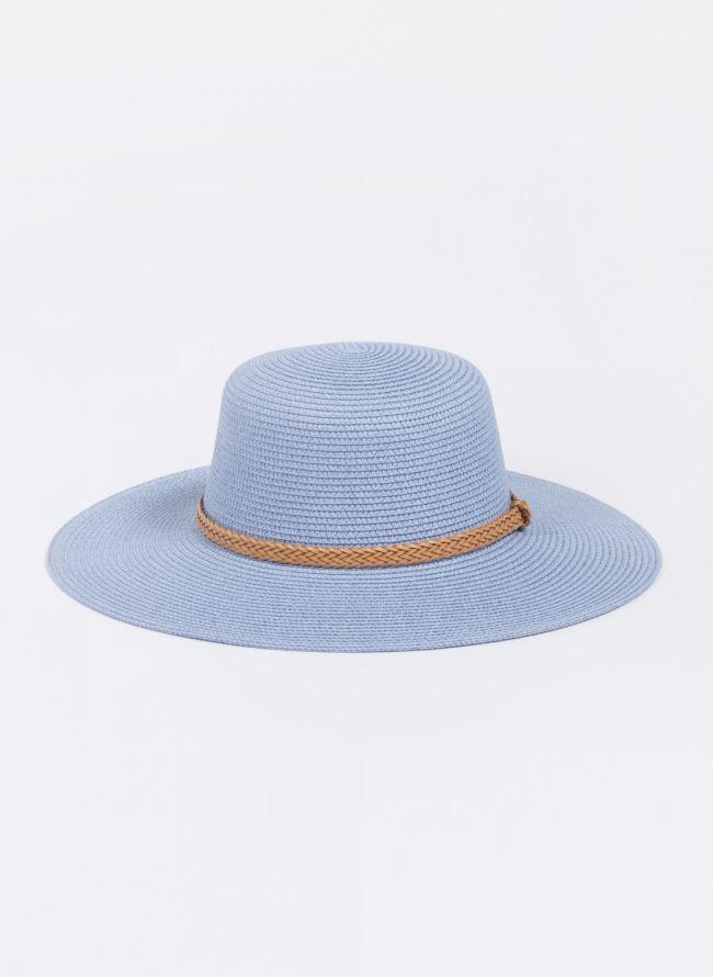 Ψάθινο καπέλο με πλεκτό ζωνάκι - Γαλάζιο