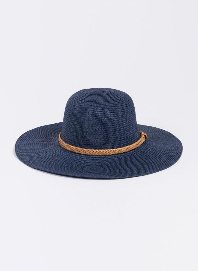 Ψάθινο καπέλο με πλεκτό ζωνάκι - Μπλε σκούρο