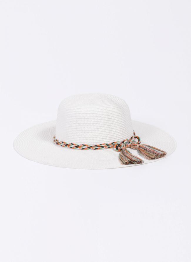 Ψάθινο καπέλο με πολύχρωμο πλεκτό κορδόνι - Λευκό