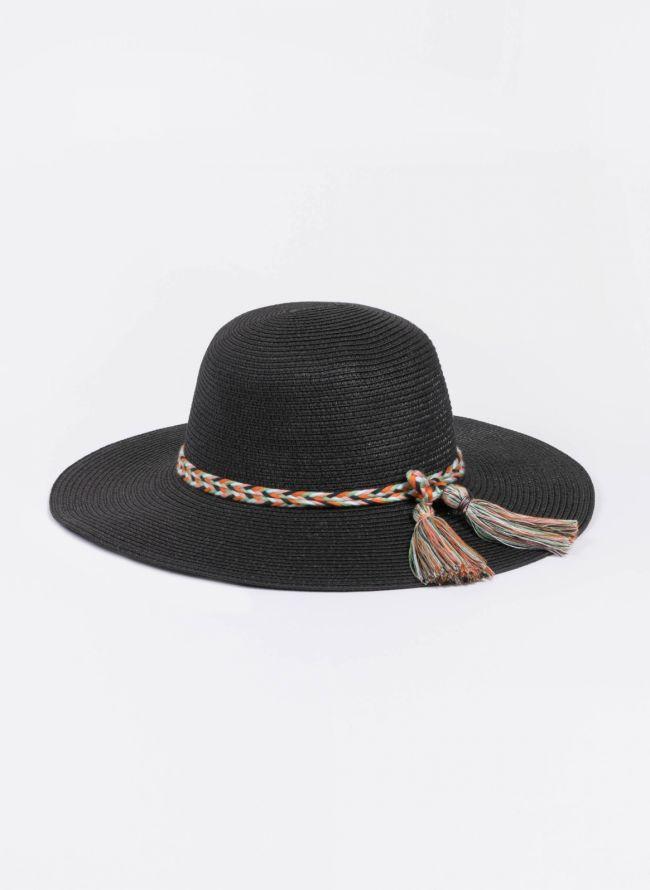 Ψάθινο καπέλο με πολύχρωμο πλεκτό κορδόνι - Μαύρο