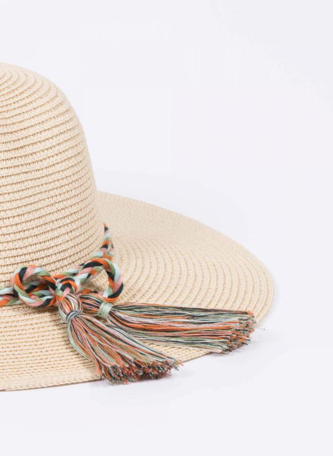Ψάθινο καπέλο με πολύχρωμο πλεκτό κορδόνι - Μπεζ