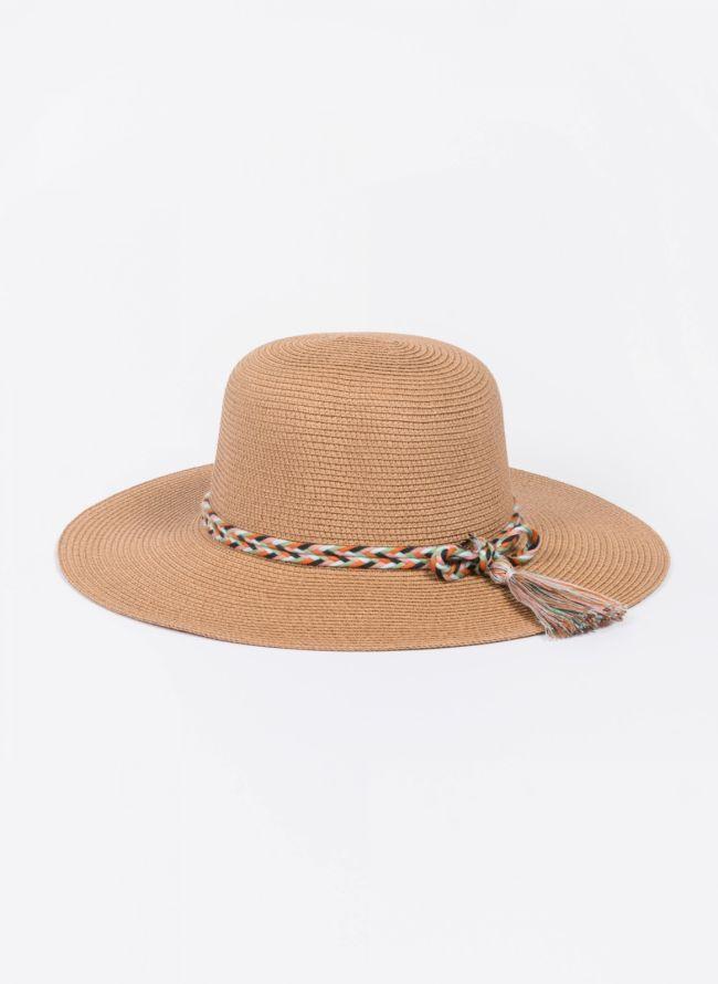 Ψάθινο καπέλο με πολύχρωμο πλεκτό κορδόνι - Κάμελ