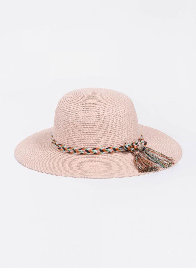 Ψάθινο καπέλο με πολύχρωμο πλεκτό κορδόνι - Ροζ