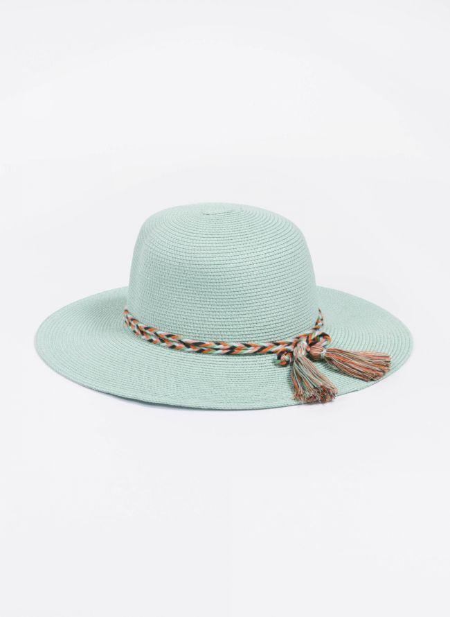 Ψάθινο καπέλο με πολύχρωμο πλεκτό κορδόνι - Βεραμάν