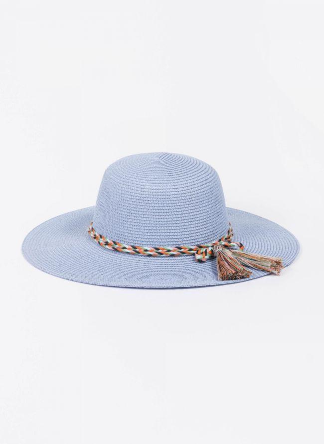 Ψάθινο καπέλο με πολύχρωμο πλεκτό κορδόνι - Γαλάζιο