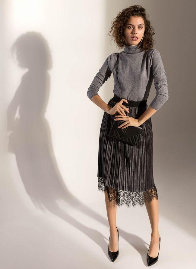 e6011b741f10 Ψηλόμεση φούστα διπλής όψης με δαντέλα - Γκρι - TheFashionProject