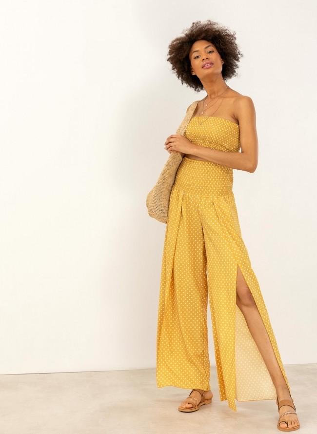 45f3efc99b09 Ψηλόμεση πουά παντελόνα με μπούστο στο ίδιο χρώμα - Κίτρινο