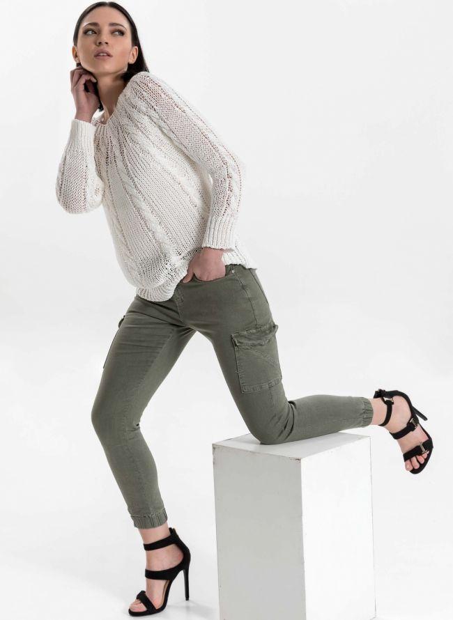 Ψηλόμεσο cargo παντελόνι - Χακί