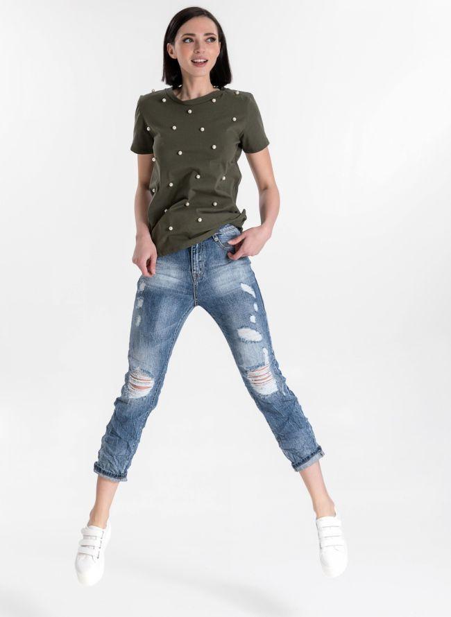 Ψηλόμεσο jean με σκισίματα - Μπλε jean